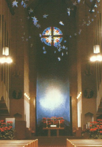 """Behold the Light"" installed. Paint on paper, 10' x 32', ©Nancy Chinn, 1998. [21]"