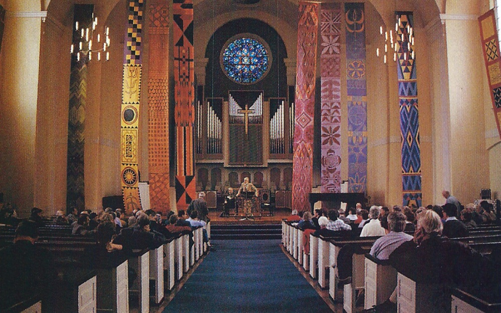 African textile paintings rendered in paint on paper, each panel 3' x 40' Copyright ©Nancy Chinn, Spaces for Spirit: Adorning the Church (Liturgy Training Publications, Chicago, 1998) plate 9